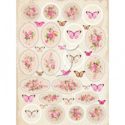 Scrapbooking Paper- Die Cut A4 Sheet   Vintage Time 029