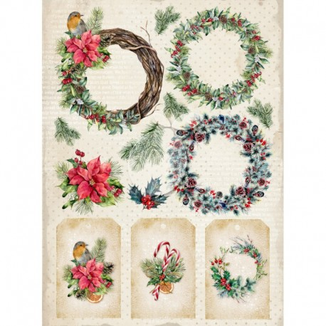 Scrapbooking Paper- Die Cut A4 Sheet Christmas - Vintage Time 034