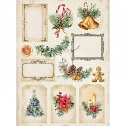 Scrapbooking Paper-  A4 Sheet   Christmas - Vintage Time 033