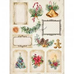 Scrapbooking Paper- Die Cut A4 Sheet  Christmas - Vintage Time 033