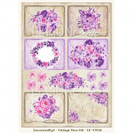 Scrapbooking Paper- A4 Sheet   Purple tags and leaves 018