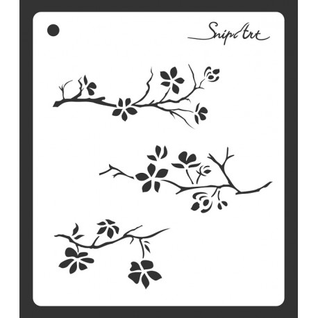 Stencil 29 - TWIGS WITH FLOWERS