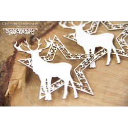 Chipboard - 2 Stars with reindeer