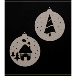 Chipboard - Baubles with Winter view / 2 pcs