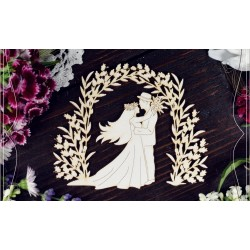 Chipboard - Young couple in flower arc