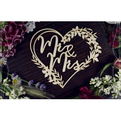 Chipboard - Mr & Mrs in a wreath