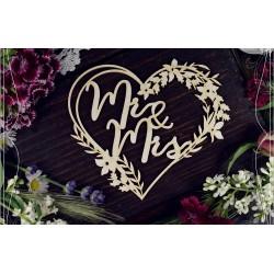Chipboard - Mr & Mrs in a wreath