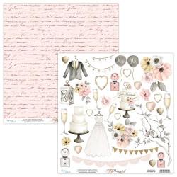 Scrapbooking Paper- 12x12 Sheet -MARRY ME 09