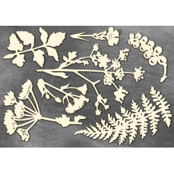 Chipboard -  Forestry leaves / 7pcs