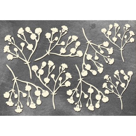 Chipboard -  Twigs with flowers /8pcs