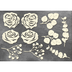 Chipboard - Roses and leaves /10pcs