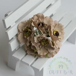 Silk Poppy Flower - BEIGE