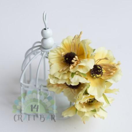 Silk Poppy Flower - YELLOW