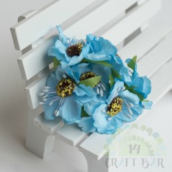 Silk Poppy Flower - BLUE