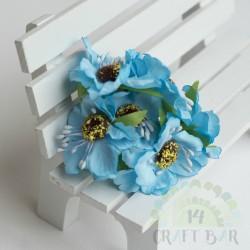 Silk Poppy Flower - BLUE