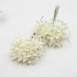Pearl chrysanthemum  / 6pcs /ECRU