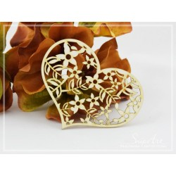 Chipboard -Heart openwork - Flowers
