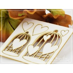 Chipboard - Cages with hearts - set