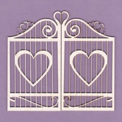 Chipboard -Gate with hearts/2pcs