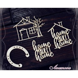 Chipboard - Home sweet home /4pcs