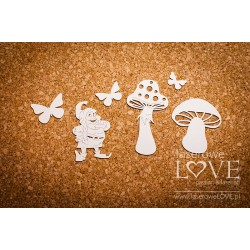 Chipboard -Mushrooms,leprechaun & butterflies