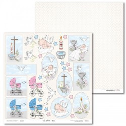 Scrapbooking Paper- 12x12 Sheet - Christening Day