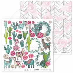 Scrapbooking Paper- 12x12 Sheet - Love Lama 06