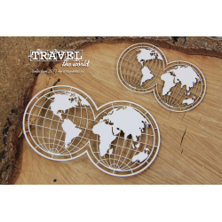 Chipboard -Travel the world - globes