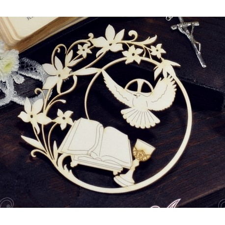 Chipboard - Holy Spirit,chalice and Bible in the frame