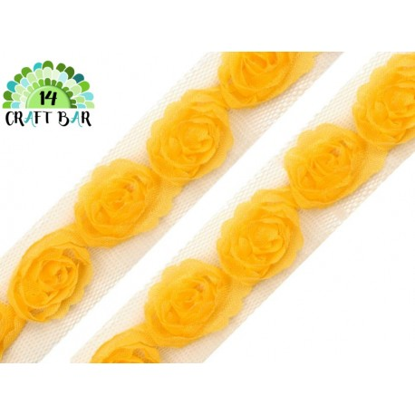 Lace Trim Roses - YELLOW