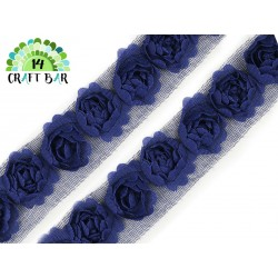 Lace Trim Roses - NAVY