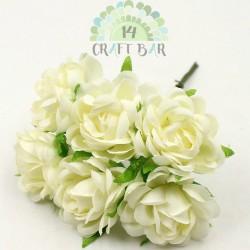 Silk Rose 3 cm / 6 pcs / ECRU