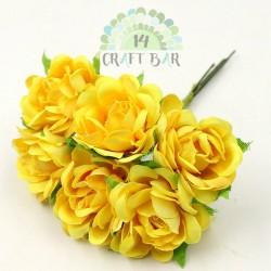 Silk Rose 3 cm / 6 pcs / YELLOW