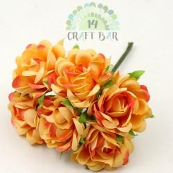 Silk Rose 3 cm / 6 pcs / ORANGE-PEACH