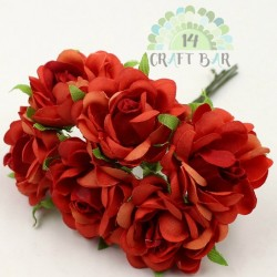 Silk Rose 3 cm / 6 pcs / RED