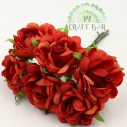 Silk Rose 3 cm / 6 pcs / RED
