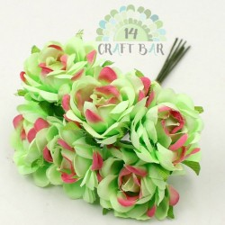 Silk Rose 3 cm / 6 pcs /PALE GREEN+ RED