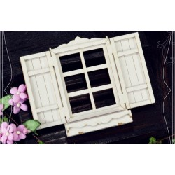 Chipboard - Windows with shutters and flower box /3D