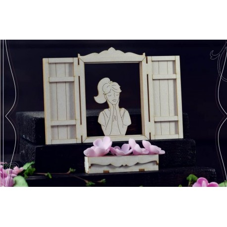 Chipboard - Windows with shutters and girl/3D