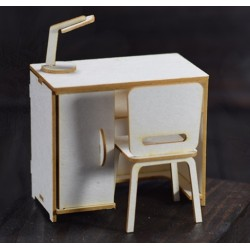 Chipboard - Desk with chair/3D