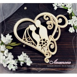 Chipboard - Bride & Groom in a layered heart frame