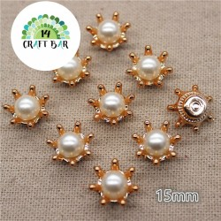 Flower Pearl Button - 15 mm (80)