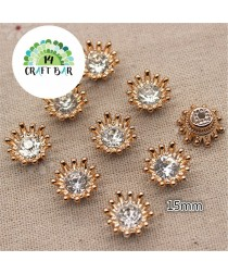 Flower  Rhinestone Button /6pcs (81)