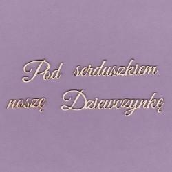 Chipboard - Polish text - Pod serduszkiem noszę dziewczynkę