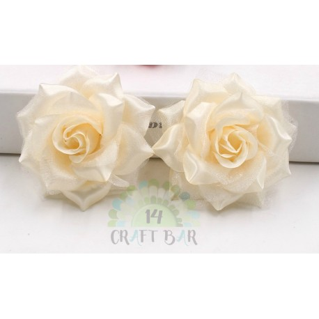 Organza + Silk Head Rose / 2pcs/CREAM