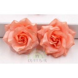 Organza + Silk Head Rose / 2pcs/CORAL