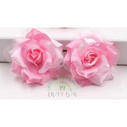 Organza + Silk Head Rose / 2pcs/PINK