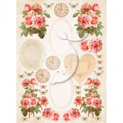 Scrapbooking Paper-  A4 Sheet Vintage Time 038