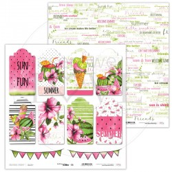Scrapbooking Paper- 12x12 Sheet - Watermelon Summer