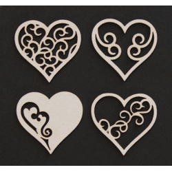 Chipboard - Small hearts /4pcs